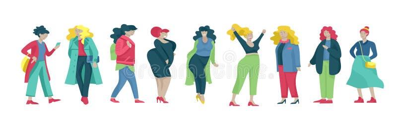 Добавочные женщины размера одетые в стильной одежде Комплект curvy девушек нося ультрамодные одежды Счастливые характеры Bodyposi иллюстрация штока