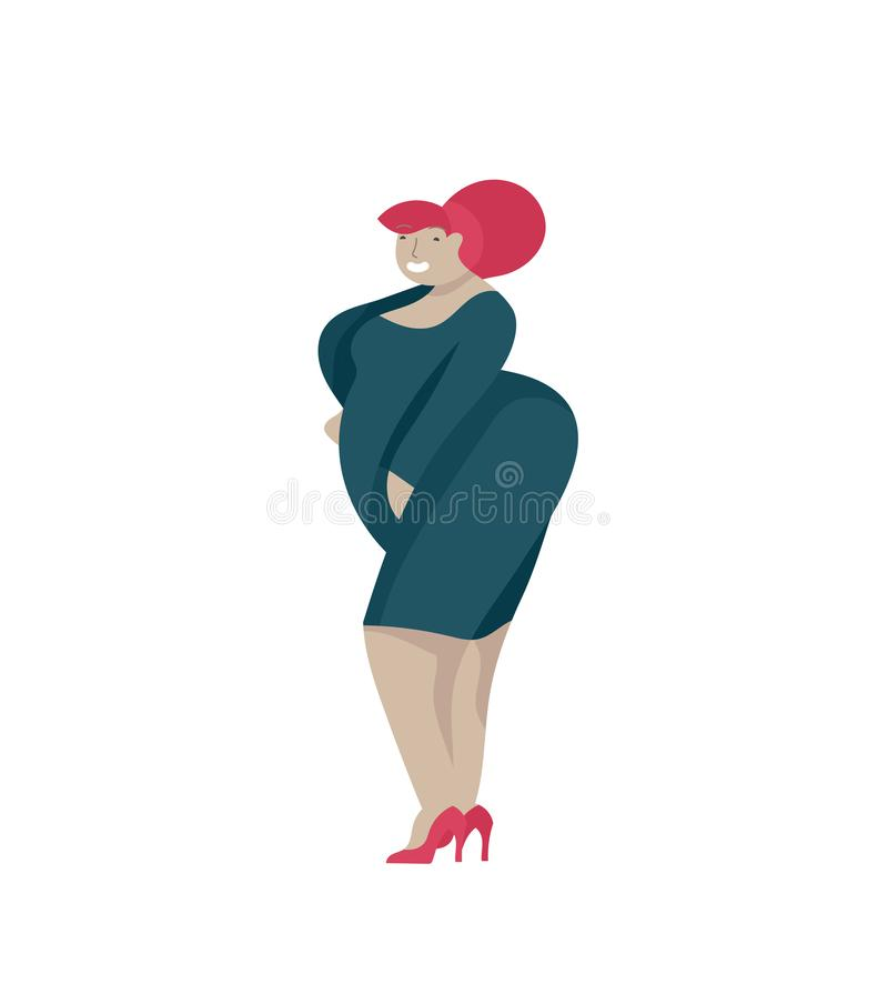 Добавочные женщины размера одетые в стильной одежде Комплект curvy девушек нося ультрамодные одежды Счастливые характеры Bodyposi бесплатная иллюстрация