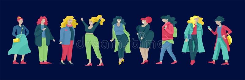 Добавочные женщины размера одетые в стильной одежде Комплект curvy девушек нося ультрамодные одежды Счастливые характеры Bodyposi иллюстрация вектора
