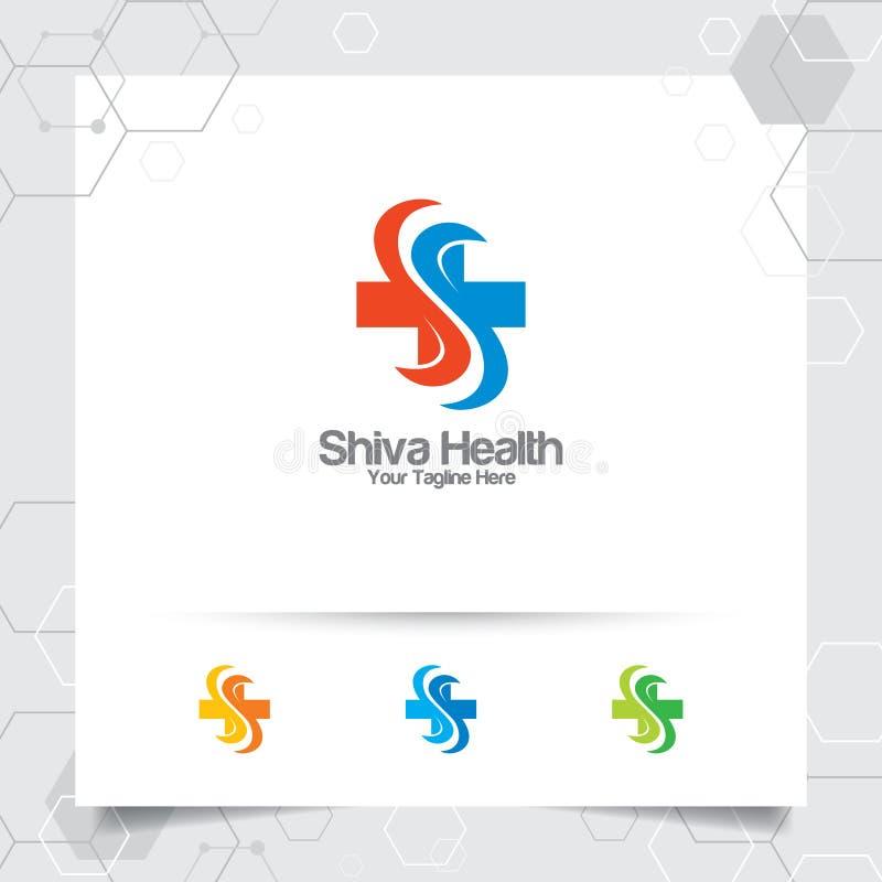 Добавочный символ медицинского дизайна вектора логотипа здоровья с концепцией иллюстрации значка письма s для больницы, клиники з иллюстрация вектора