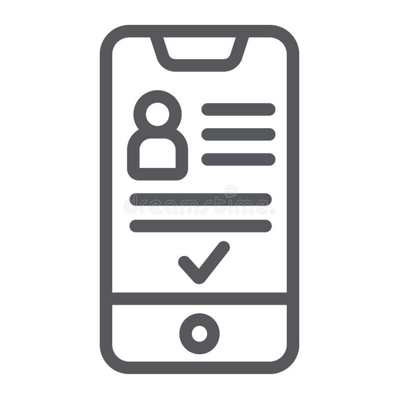Добавьте друга на линии значке смартфона, телефона и потребителя, социального знака счета, векторных график, линейной картины на  иллюстрация штока