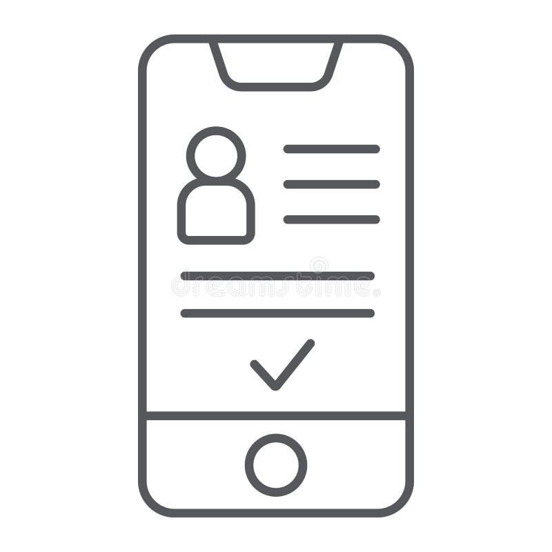 Добавьте друга на линии значке смартфона тонкой, телефона и потребителя, социального знака счета, векторных график, линейной карт иллюстрация штока