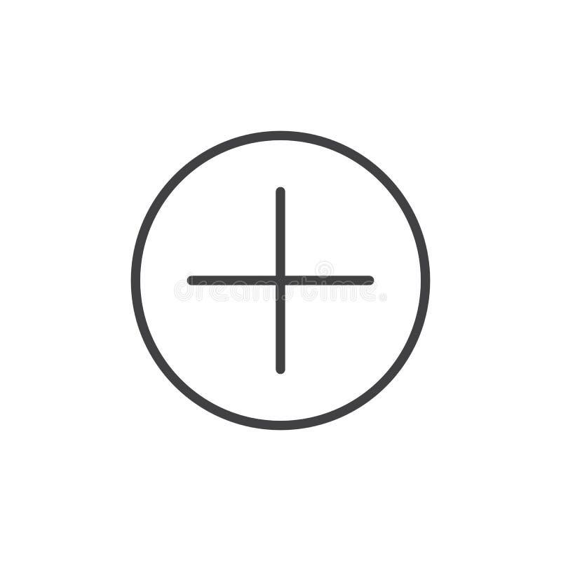 Добавьте линию значок кнопки бесплатная иллюстрация
