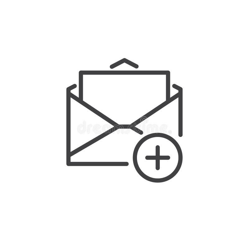 Добавьте линию значок почты иллюстрация вектора