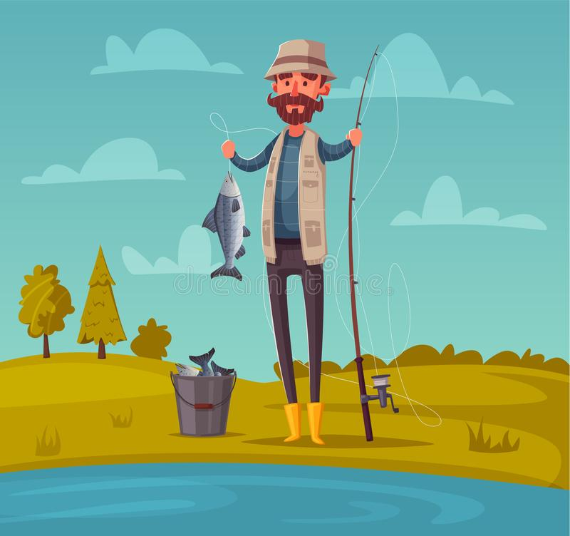 добавьте рыболовство рыболова конца как линия штанга к все, что угодно вы alien кот шаржа избегает вектор крыши иллюстрации иллюстрация штока
