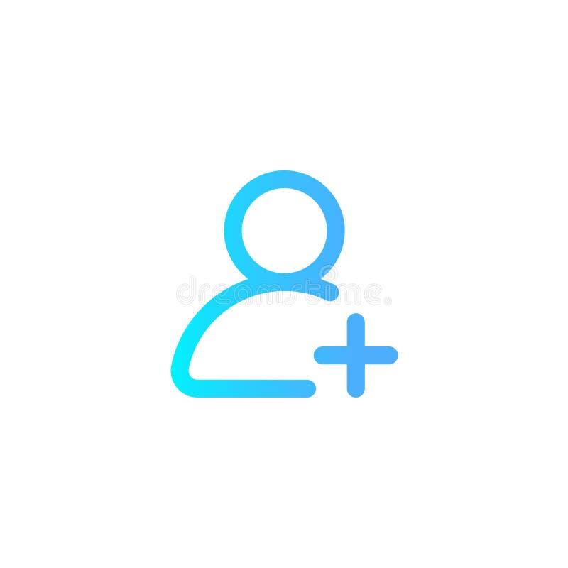 Добавьте символ знака значка вектора потребителя иллюстрация штока