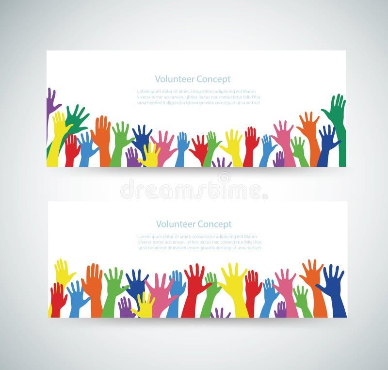 Добровольная концепция, свободные руки поднимает вверх иллюстрация вектора предпосылки знамени бесплатная иллюстрация
