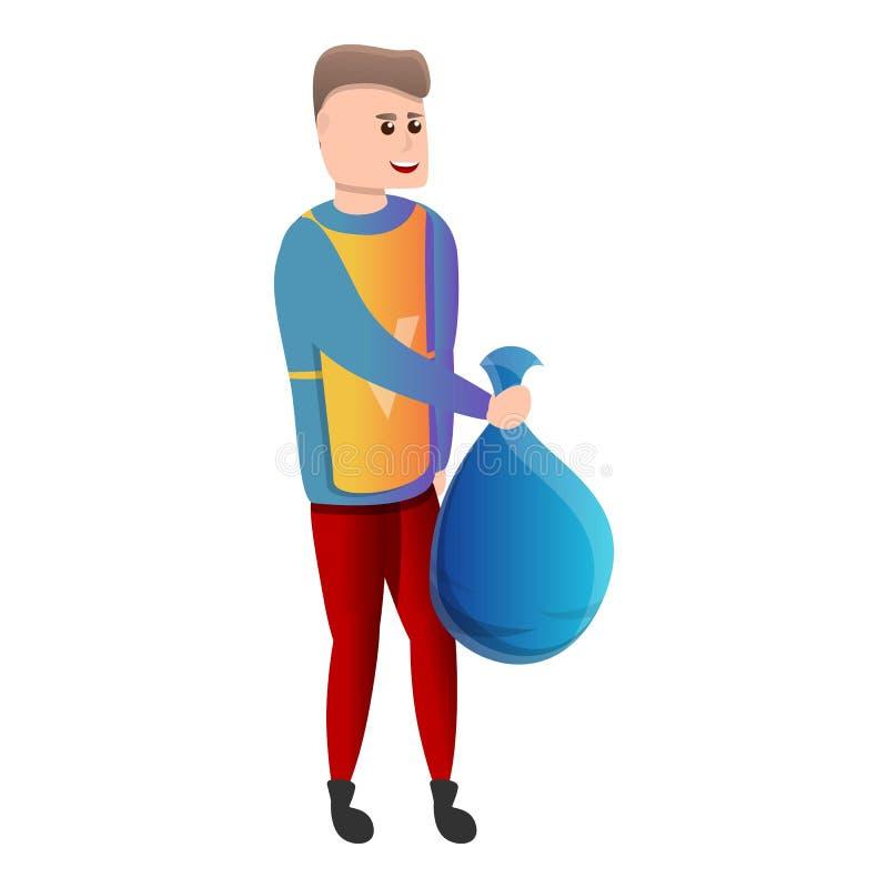 Добровольный мальчик со значком сумки отброса, стилем мультфильма бесплатная иллюстрация