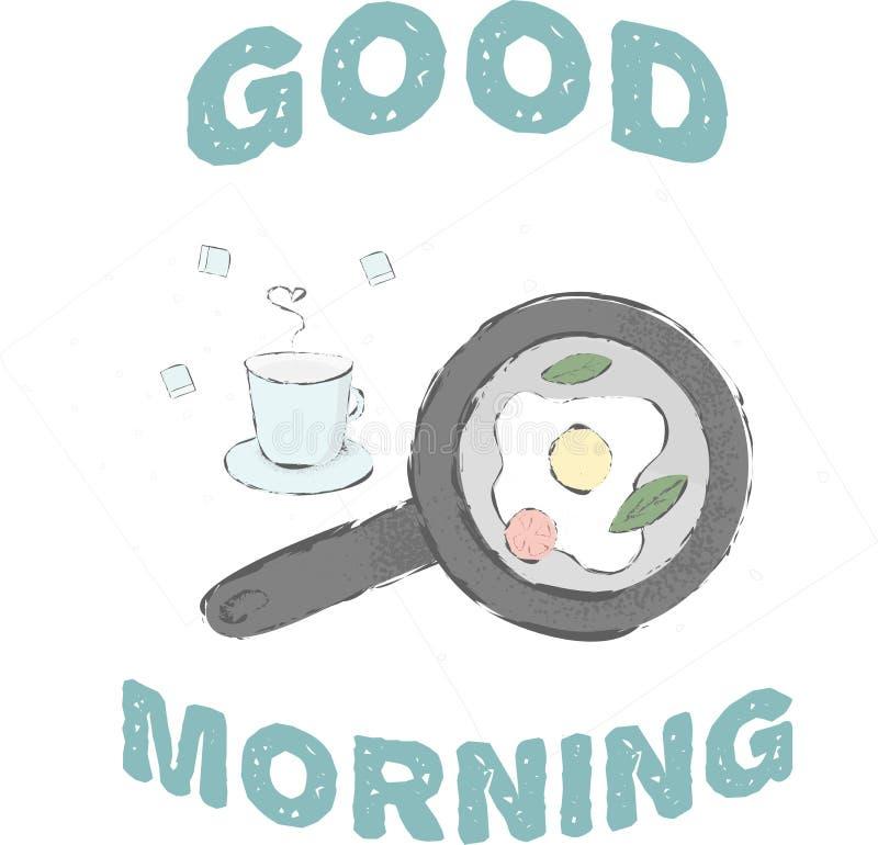 доброе утро завтрака иллюстрация штока