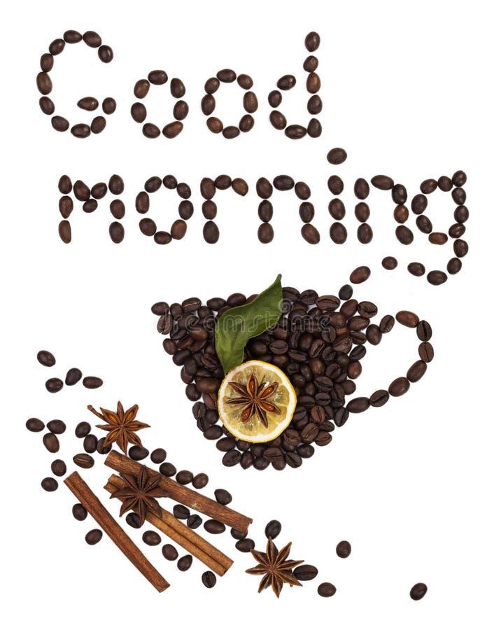 Доброе утро надписи кофейных зерен стоковые фотографии rf