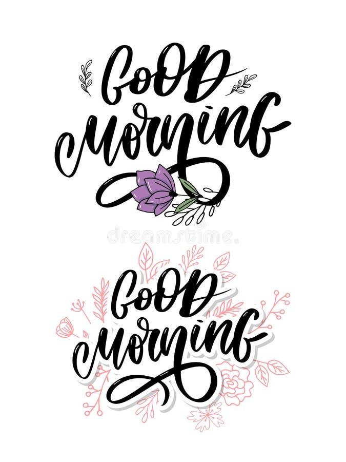 Доброе утро помечая буквами каллиграфию лозунга текста черную стоковая фотография rf