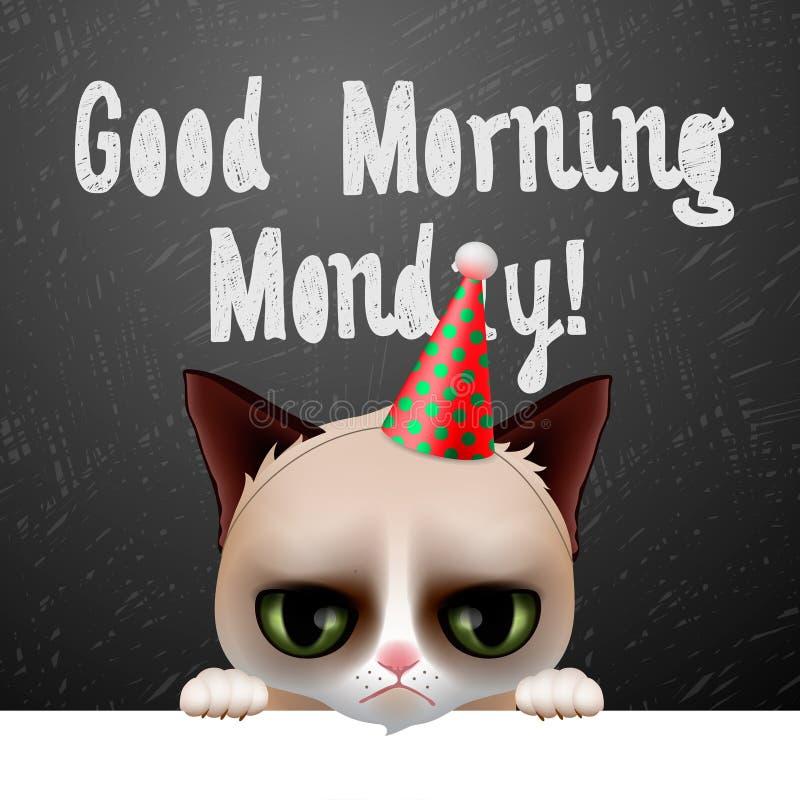 Доброе утро понедельник, с милым сварливым котом бесплатная иллюстрация