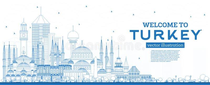 Добро пожаловать в Турцию на 'Skyline' с Blue Building иллюстрация вектора