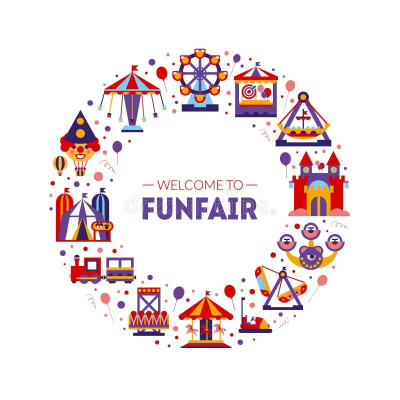 Добро пожаловать в Funfair Frame of Ciracle Shape, Amusement Park Elements Vector Иллюстрация бесплатная иллюстрация