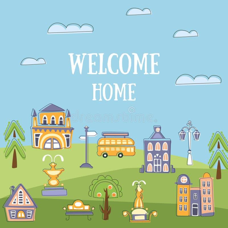 Добро пожаловать домашний шаблон знамени, ландшафт лета городской с общественными зданиями милой руки вычерченными и улица города иллюстрация вектора