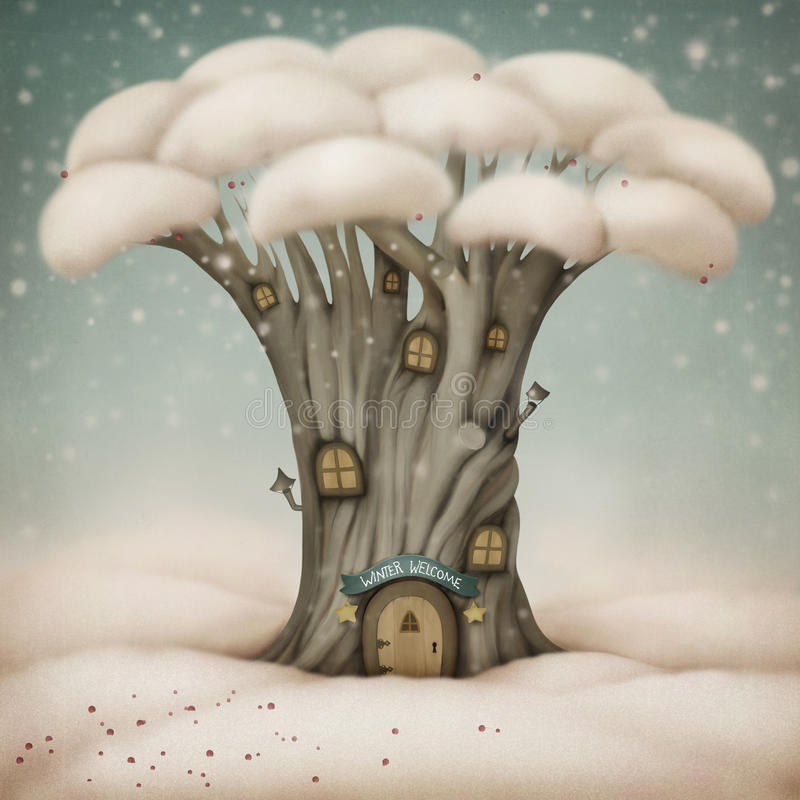 добро пожаловать зима иллюстрация штока