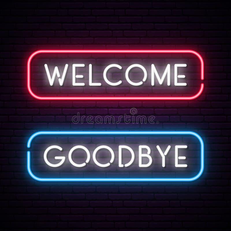Добро пожаловать и до свидания знамя текста вектора неоновое иллюстрация вектора