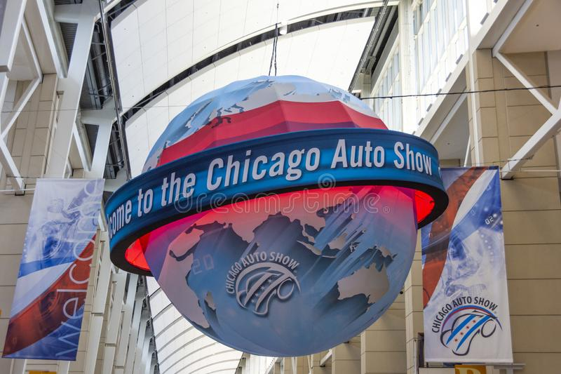 Добро пожаловать к автосалону Чикаго стоковая фотография