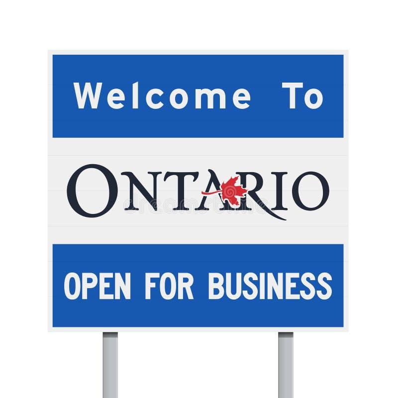 Добро пожаловать к дорожному знаку Онтарио иллюстрация вектора