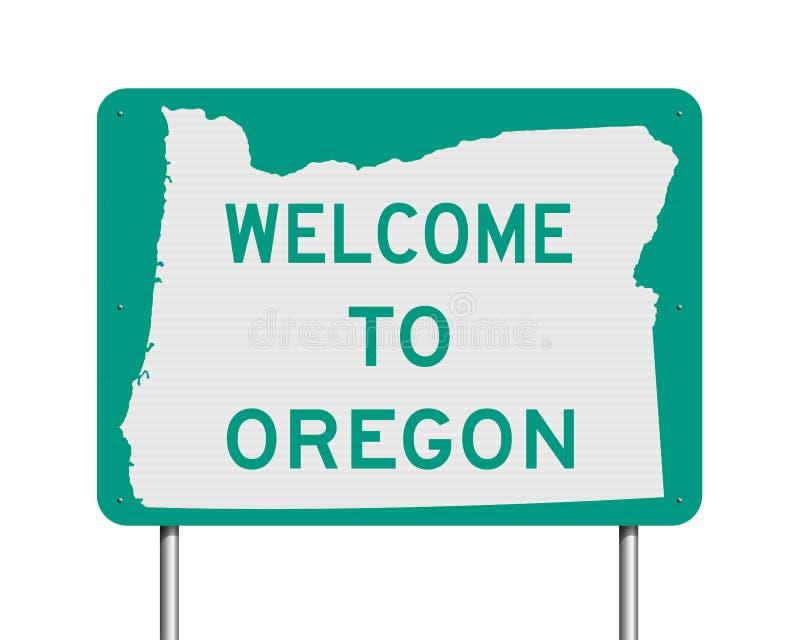 Добро пожаловать к дорожному знаку Орегона иллюстрация штока