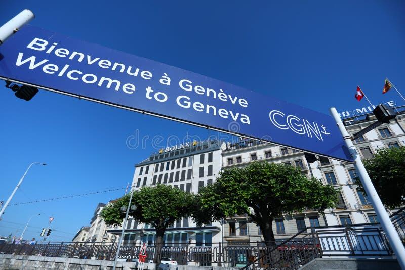 Добро пожаловать к Женеве, Bienvenue Geneve, Швейцария стоковые изображения rf