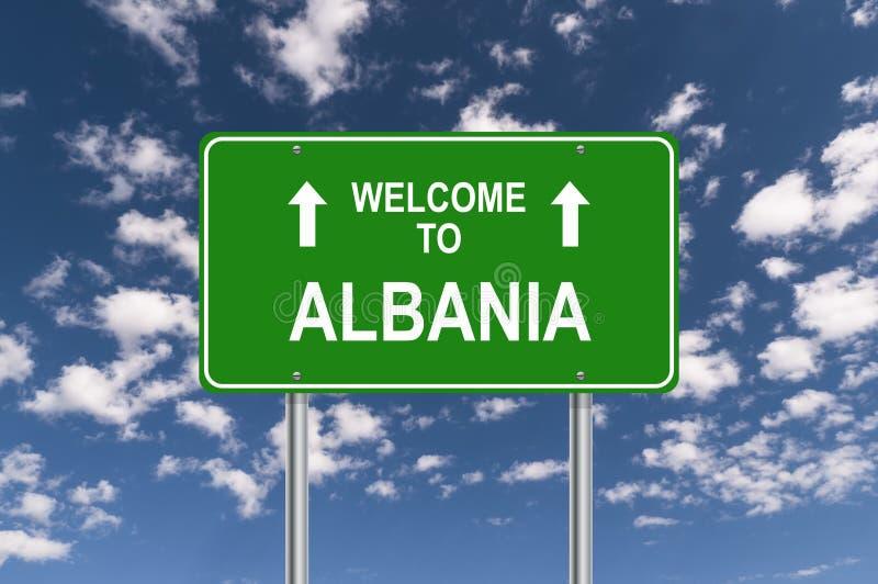 Добро пожаловать к знаку Албании стоковое фото rf