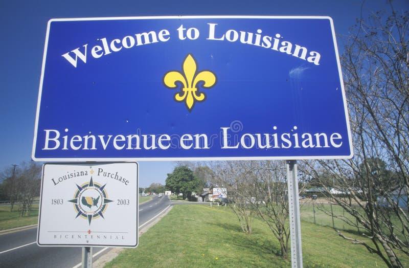 Добро пожаловать к знаку Луизианы стоковое изображение rf