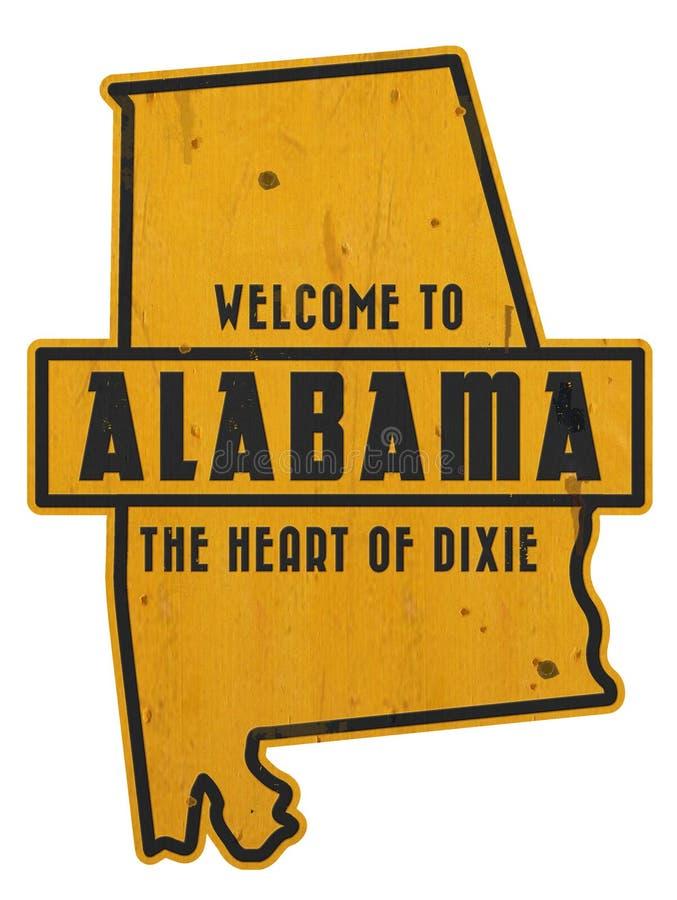 Добро пожаловать к искусству Grunge улицы дороги знака Алабамы стоковое фото rf