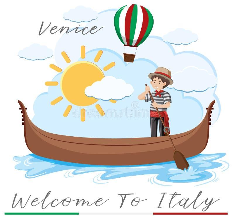 Добро пожаловать к Италии с шлюпкой Венеции иллюстрация штока