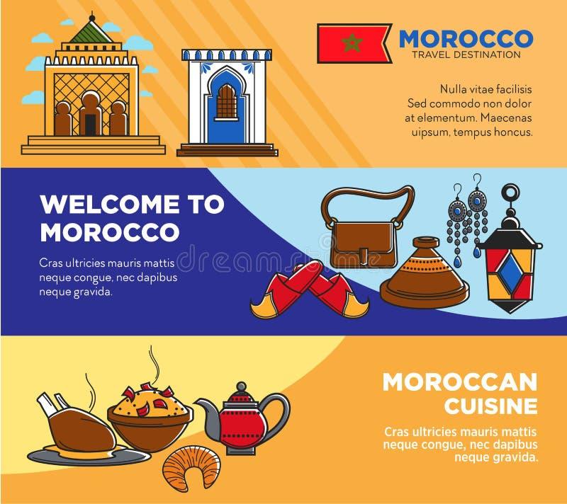 Добро пожаловать к марокканським и морокканским установленным плакатам кухни иллюстрация вектора