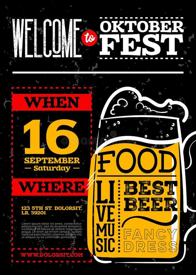 Добро пожаловать к плакату вертикали Oktoberfest бесплатная иллюстрация