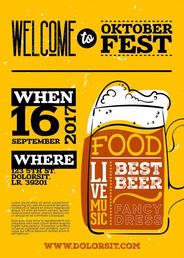 Добро пожаловать к плакату Oktoberfest бесплатная иллюстрация