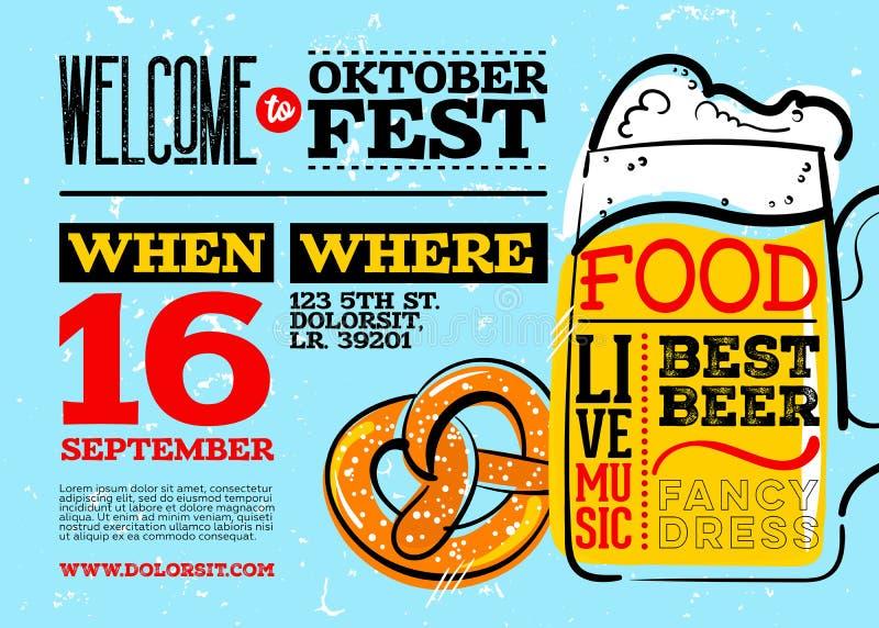 Добро пожаловать к плакату Oktoberfest иллюстрация штока