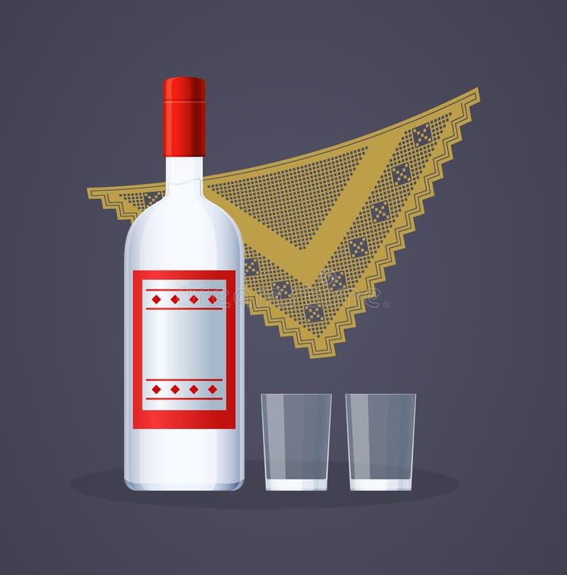 Добро пожаловать к России Русские традиции, сувенир, русская бутылка водки, бесплатная иллюстрация