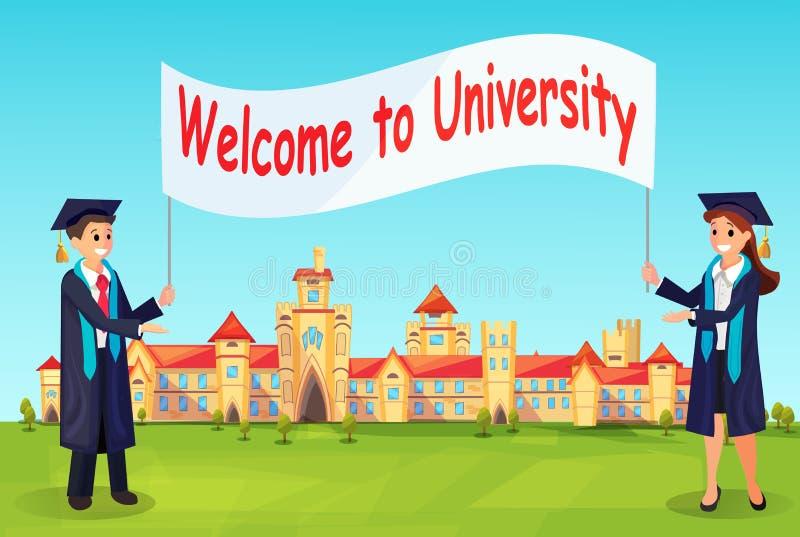 Добро пожаловать к университету Вектор Charaters в мантиях иллюстрация вектора