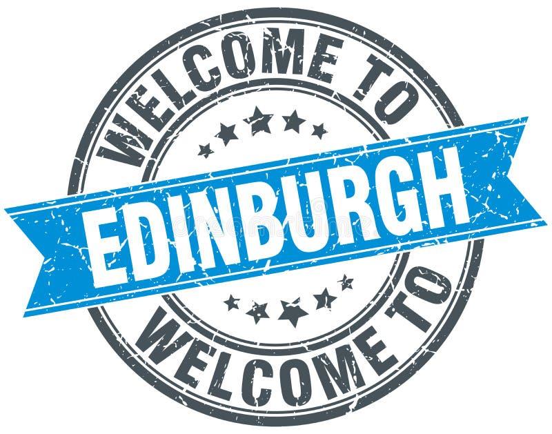 добро пожаловать к штемпелю Эдинбурга иллюстрация вектора