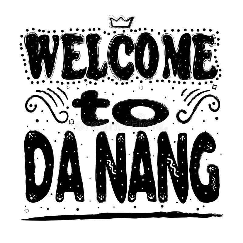 Добро пожаловать к Da Nang Четвертый по величине город во Вьетнаме после чертежа руки Хошимина Сайгон, Ханоя и Хайфона, иллюстрация вектора