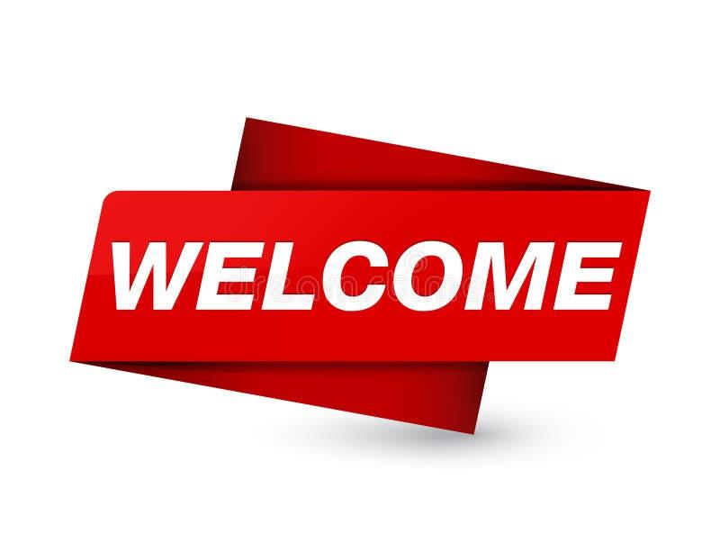 Добро пожаловать наградной красный знак бирки бесплатная иллюстрация