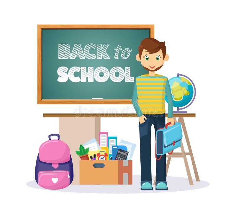 Добро пожаловать назад к классн классному школы с деталями и элементами иллюстрация вектора
