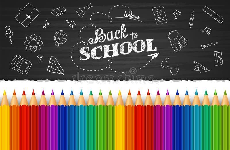 Добро пожаловать назад к предпосылке школы с нарисованными рукой элементами doodle и красочными карандашами иллюстрация вектора