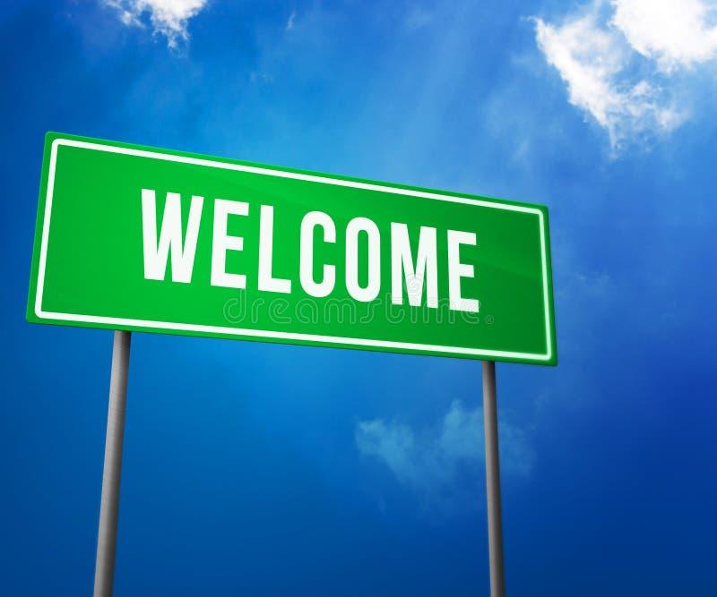 Добро пожаловать на зеленом дорожном знаке стоковое изображение rf
