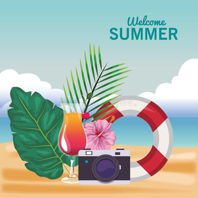 Добро пожаловать шаржи лета бесплатная иллюстрация