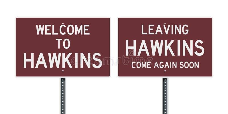 Добро пожаловать и выходящ дорожный знак Hawkins иллюстрация штока