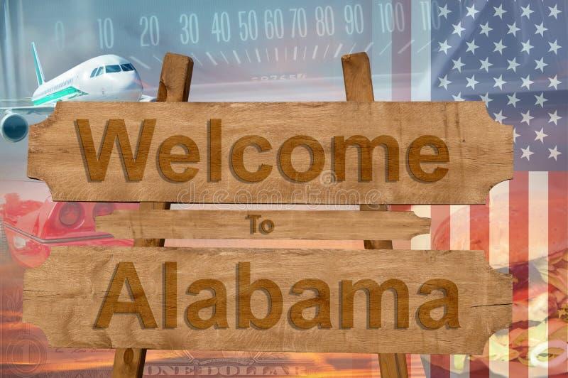 Добро пожаловать к Алабаме в США подписывает внутри древесину, тему travell стоковая фотография rf