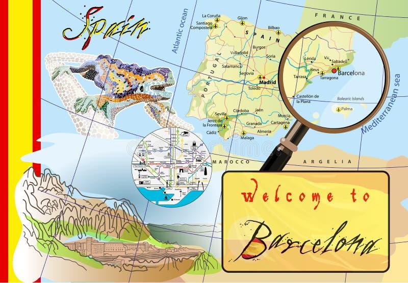 Добро пожаловать к Барселоне Привлекательности на карте бесплатная иллюстрация
