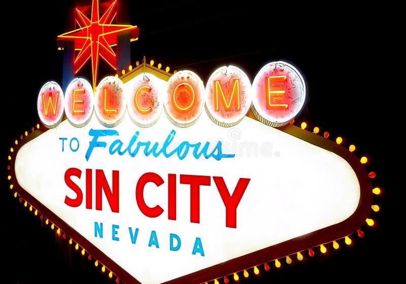 Добро пожаловать к городу Лас-Вегас греха стоковые изображения