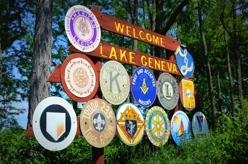 Добро пожаловать к знаку женевского озера стоковые фото