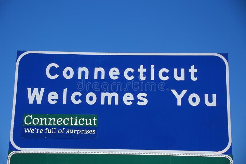 Добро пожаловать к знаку Коннектикута стоковые изображения rf