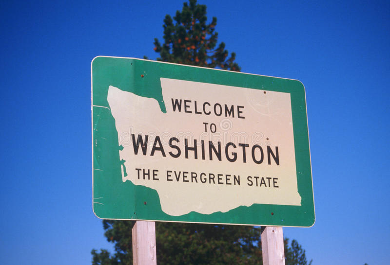 Добро пожаловать к знаку штата Вашингтона стоковые изображения