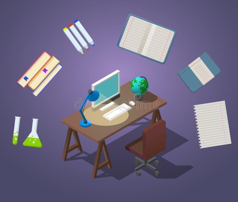 Добро пожаловать к иллюстрации вектора концепции школы равновеликой Рабочее место для студента Занятие на компьютере Таблица иллюстрация вектора